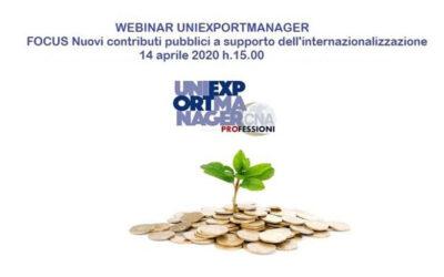 Webinar del 14 Aprile Nuovi contributi pubblici a supporto dell'internazionalizzazione